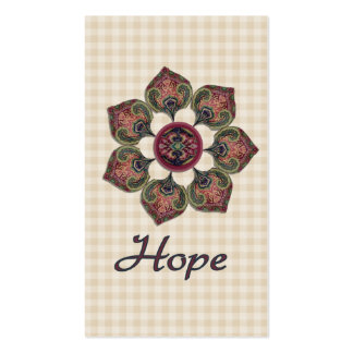 HOPE Fabric Collage Flower Red and Blue Double-Sided Standard Business Cards (Pack Of 100)