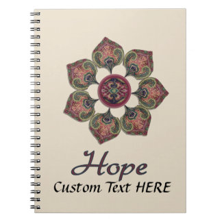 HOPE Fabric Collage Flower Red and Blue Spiral Notebook
