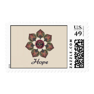 HOPE Fabric Collage Flower Red and Blue Postage