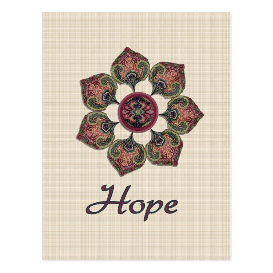 HOPE Fabric Collage Flower Red and Blue Postcard