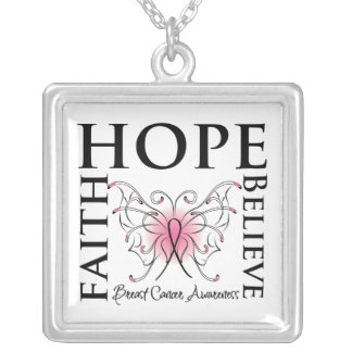Hope Faith Believe Breast Cancer Square Pendant Necklace