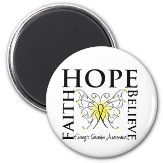 Hope Faith Believe Butterfly - Ewing Sarcoma 2 Inch Round Magnet