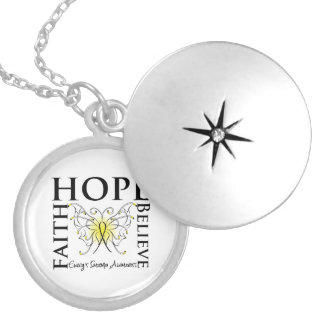 Hope Faith Believe Butterfly - Ewing Sarcoma Round Locket Necklace