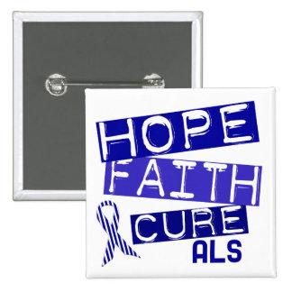 HOPE FAITH CURE ALS 2 INCH SQUARE BUTTON