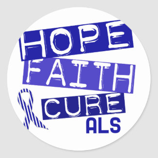 HOPE FAITH CURE ALS CLASSIC ROUND STICKER