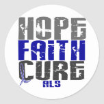 HOPE FAITH CURE ALS ROUND STICKERS