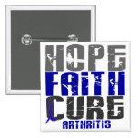 HOPE FAITH CURE ARTHRITIS T-Shirts & Apparel 2 Inch Square Button