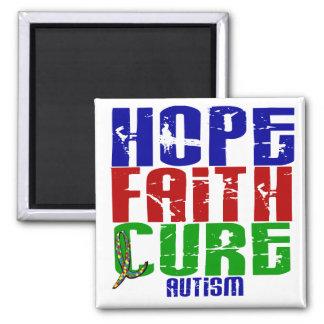 HOPE FAITH CURE AUTISM 2 INCH SQUARE MAGNET