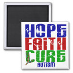 HOPE FAITH CURE AUTISM FRIDGE MAGNET