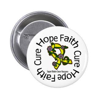 Hope Faith Cure Bladder Cancer Flower Ribbon Pinback Button