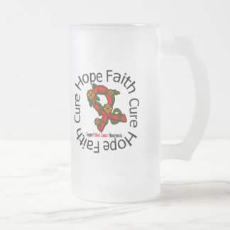 Hope Faith Cure Blood Cancer Flower Ribbon 16 Oz Frosted Glass Beer Mug