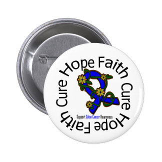 Hope Faith Cure Colon Cancer Flower Ribbon Pinback Button