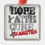 Hope. Faith. Cure. Diabetes Square Metal Christmas Ornament