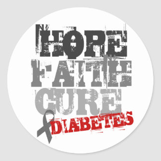 Hope Faith Cure Diabetes Round Stickers