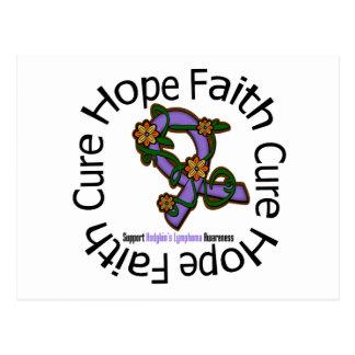 Hope Faith Cure Hodgkins Lymphoma Flower Ribbon Postcard