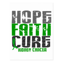 HOPE FAITH CURE KIDNEY CANCER (Green) Postcard