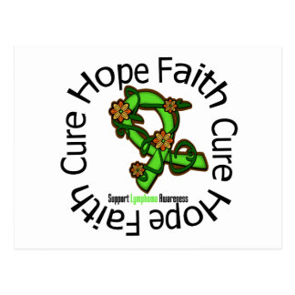 Hope Faith Cure Lymphoma Flower Ribbon Postcard