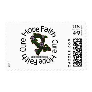 Hope Faith Cure Melanoma Flower Ribbon Postage