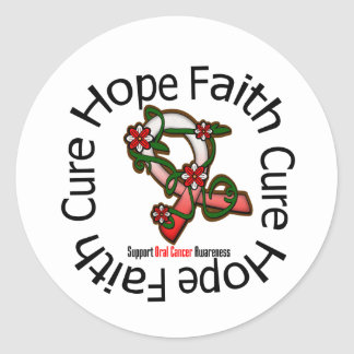 Hope Faith Cure Oral Cancer Flower Ribbon Classic Round Sticker