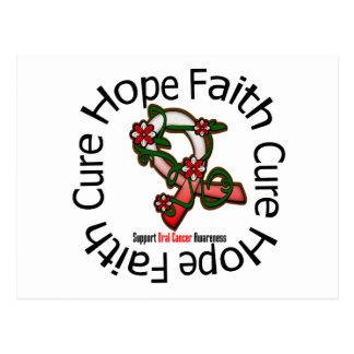 Hope Faith Cure Oral Cancer Flower Ribbon Postcard