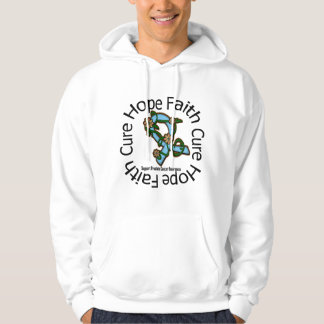 Hope Faith Cure Prostate Cancer Flower Ribbon Hooded Pullovers