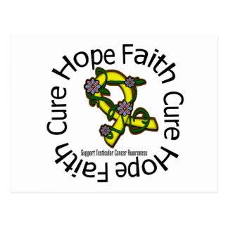 Hope Faith Cure Testicular Cancer Flower Ribbon Postcard