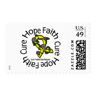 Hope Faith Cure Testicular Cancer Flower Ribbon Stamp