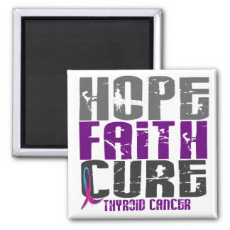 HOPE FAITH CURE THYROID CANCER 2 INCH SQUARE MAGNET