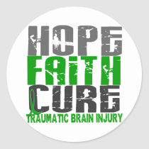 Hope Faith Cure Traumatic Brain Injury TBI Classic Round Sticker