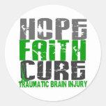 Hope Faith Cure Traumatic Brain Injury TBI Classic Round Sticker