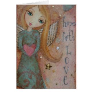 Hope Faith Love Angel Art Print Blank Notecard