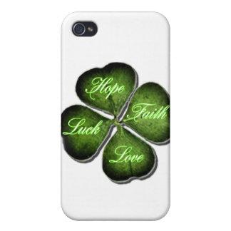 Hope, Faith, Love, & Luck 4 Leaf Clover iPhone 4/4S Cover