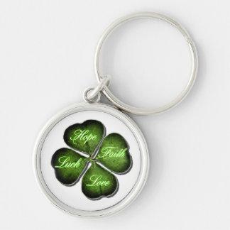 Hope, Faith, Love, & Luck 4 Leaf Clover Keychain