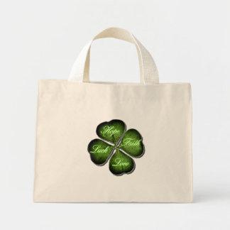 Hope, Faith, Love, & Luck 4 Leaf Clover Mini Tote Bag