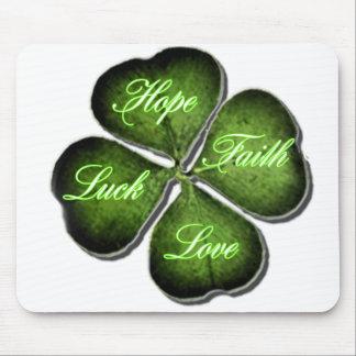 Hope, Faith, Love, & Luck 4 Leaf Clover Mouse Pad