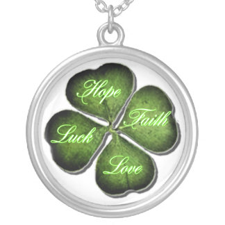 Hope, Faith, Love, & Luck 4 Leaf Clover Personalized Necklace