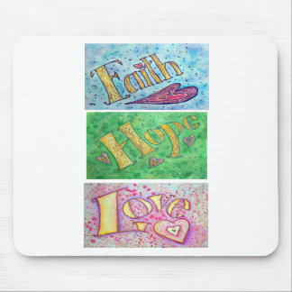 Hope, Faith, Love Mousepad (Vertical)