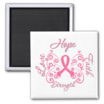 Hope Faith Love Strength Breast Cancer 2 Inch Square Magnet