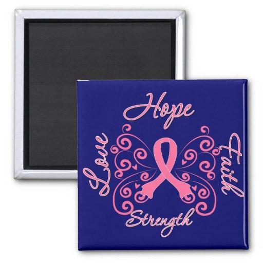 Hope Faith Love Strength Breast Cancer Magnets