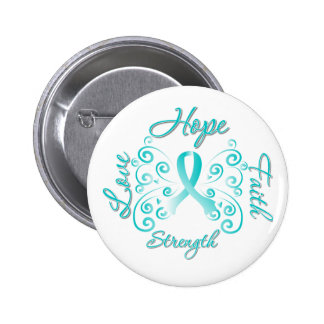 Hope Faith Love Strength Cervical Cancer 2 Inch Round Button
