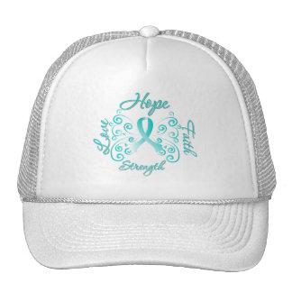 Hope Faith Love Strength Cervical Cancer Mesh Hat