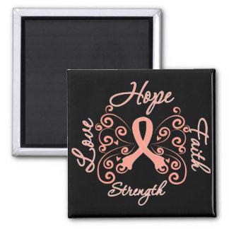 Hope Faith Love Strength Endometrial Cancer 2 Inch Square Magnet