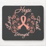 Hope Faith Love Strength Endometrial Cancer Mousepads