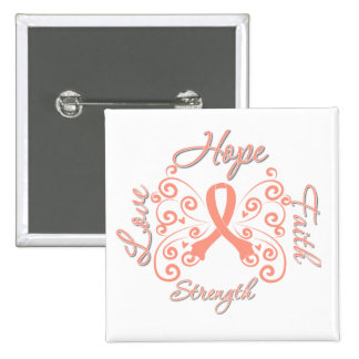 Hope Faith Love Strength Endometrial Cancer Pinback Button