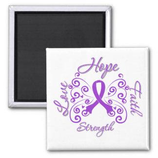 Hope Faith Love Strength Fibromyalgia 2 Inch Square Magnet