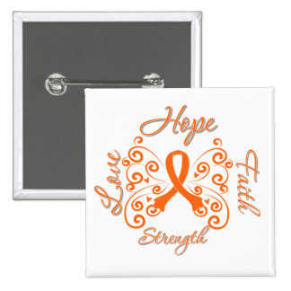 Hope Faith Love Strength Leukemia 2 Inch Square Button