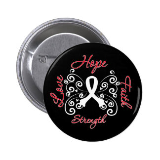 Hope Faith Love Strength Lung Cancer 2 Inch Round Button