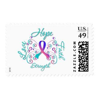Hope Faith Love Strength Thyroid Cancer Stamp