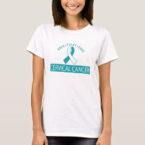 Hope Fight Cure Cervical Cancer Teal ribbon Tee