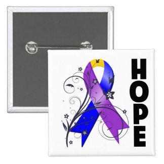 Hope Flower Ribbon - Bladder Cancer Pins